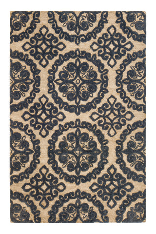Blue Medallion Jute Rug