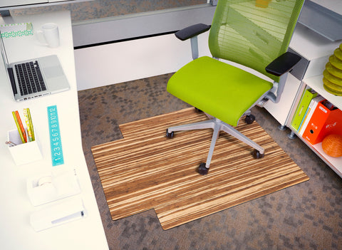 "Strand-Woven Bamboo Roll-Up Chair mat, 36"" x 48"", with lip"
