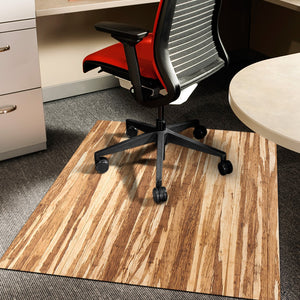"Strand-Woven Bamboo Roll-Up Chairmat, 42"" x 48"", no lip"