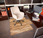 "Strand-Woven Bamboo Roll-Up Chair mat, 55"" x 57"", with lip"