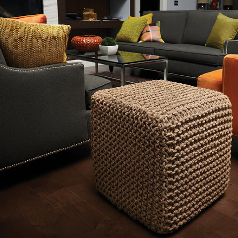 Natural Jute Square Pouf Weave Detail