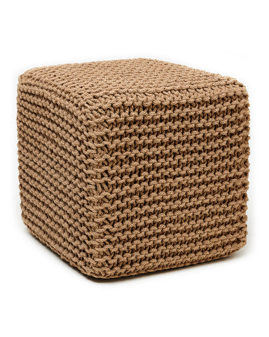"18"" Cube Natural Jute Square Pouf"