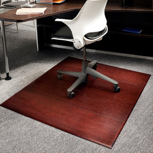 "47"" x 60"" Dark Cherry Bamboo Tri-Fold Chair Mat"