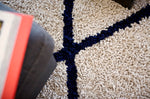 Vanilla Creme With Navy Diamonds Silky Shag Rug Detail