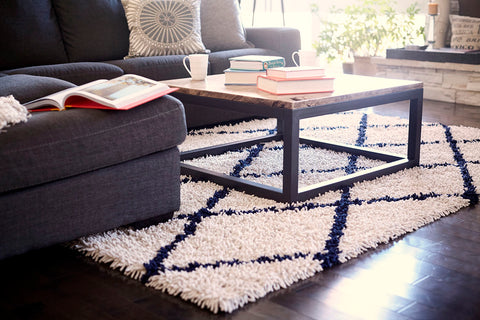 Vanilla Creme With Navy Diamonds Silky Shag Rug