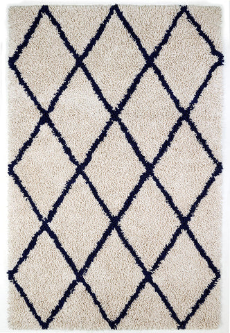 8' x 10' Vanilla Creme With Navy Diamonds Silky Shag Rug