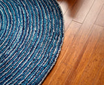 Ripple Effect Round Cotton Rug Weave Close Up View
