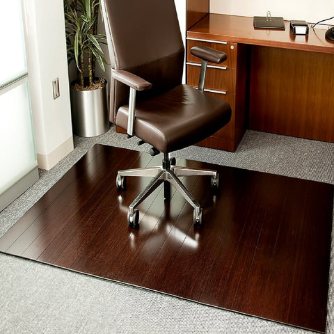 "72"" x 48"" Dark Cherry Deluxe Bamboo Roll-Up Chair Mat"