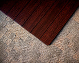 Dark Cherry Bamboo Chair Mat, No Lip Close Up Detail