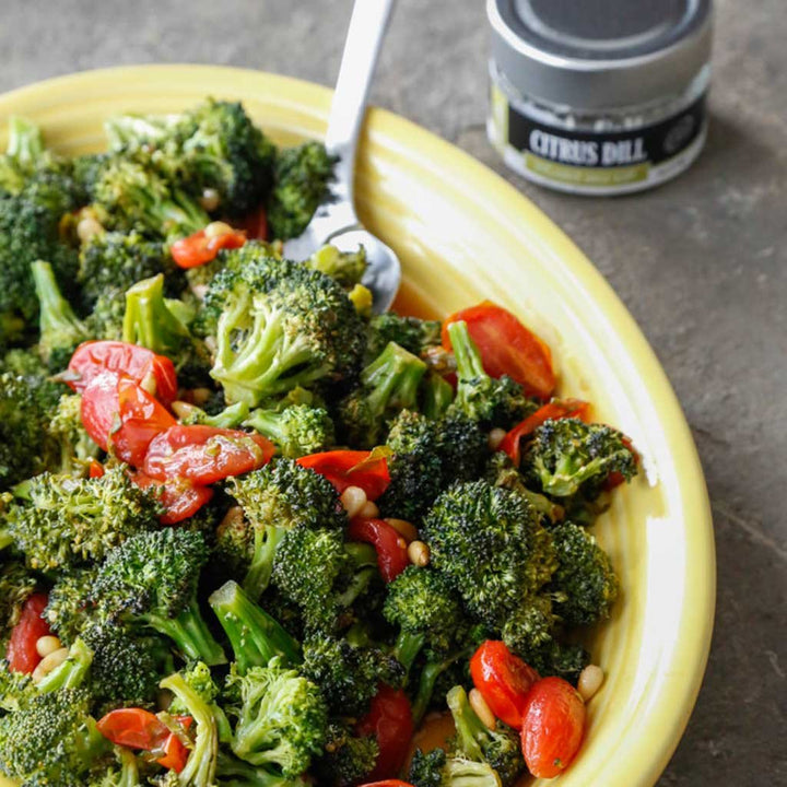 Roasted Broccoli with a Warm Tomato Herb Vinegarette