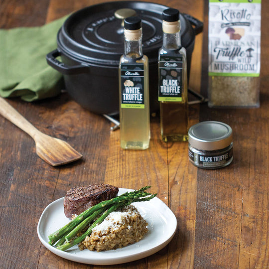 Parmesan Truffle Wild Mushroom Risotto with Grilled Steak & Asparagus