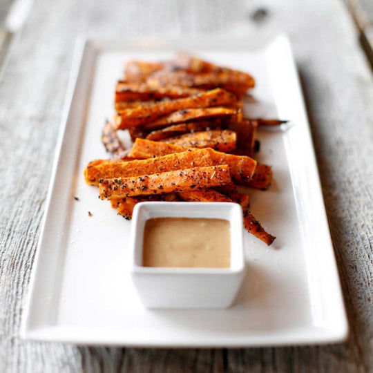 Coffee Roasted Sweet Potato Fries with Smoked Maple Aioli
