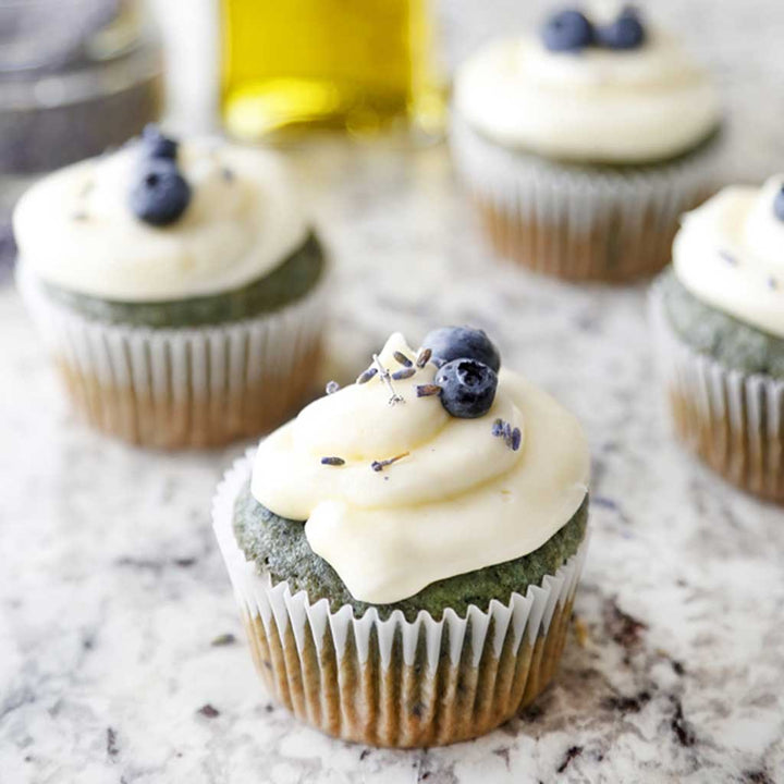 Lemon Blueberry Olive Oil Cupcakes with Champagne Frosting