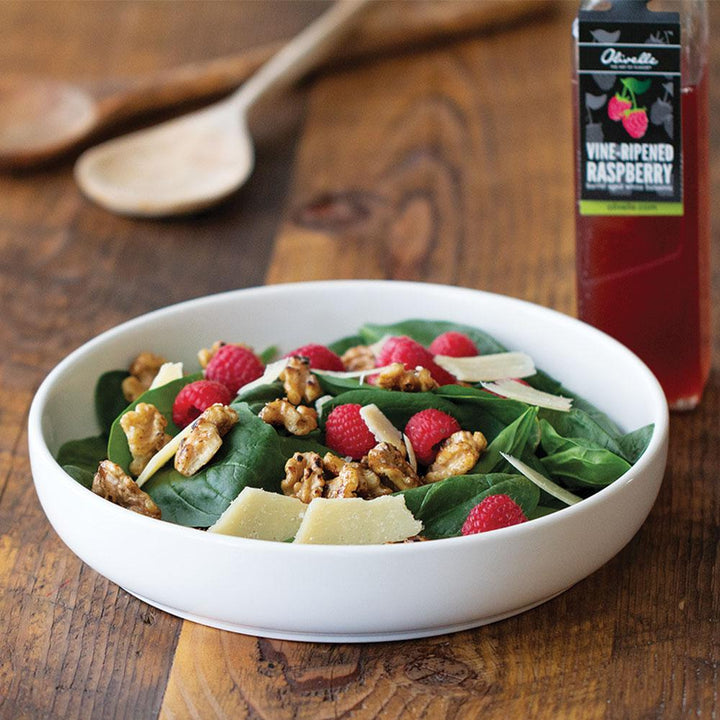 Raspberry Spinach Salad with Balsamic Caramelized Nuts