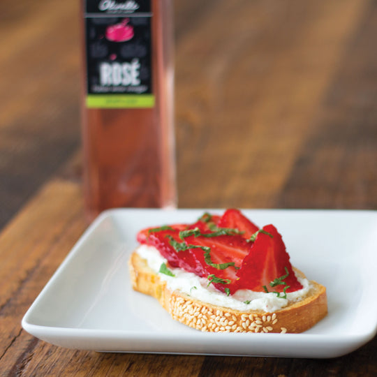 Strawberry Rosé Toast with Whipped Honey Goat Cheese