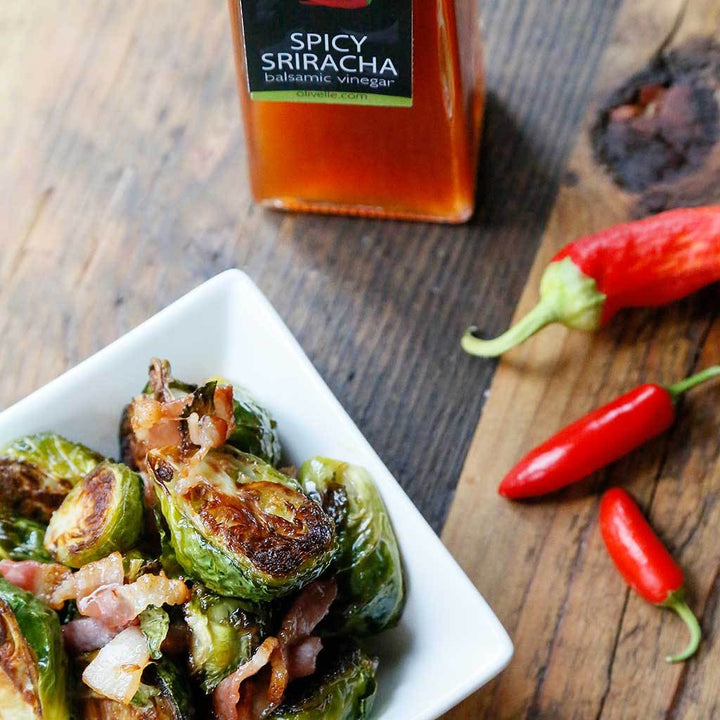 Bacon & Sriracha Roasted Brussel Sprouts