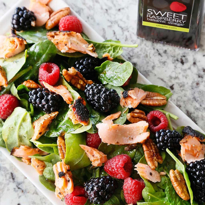 Blackened Salmon Salad with Berries & Pecans