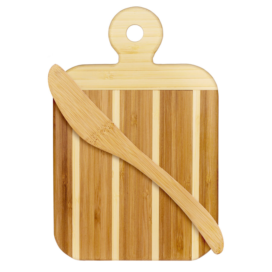 Striped Paddle Serving/Cutting Board with Spreader
