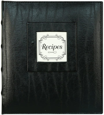Recipe Book - Black Leather Initial