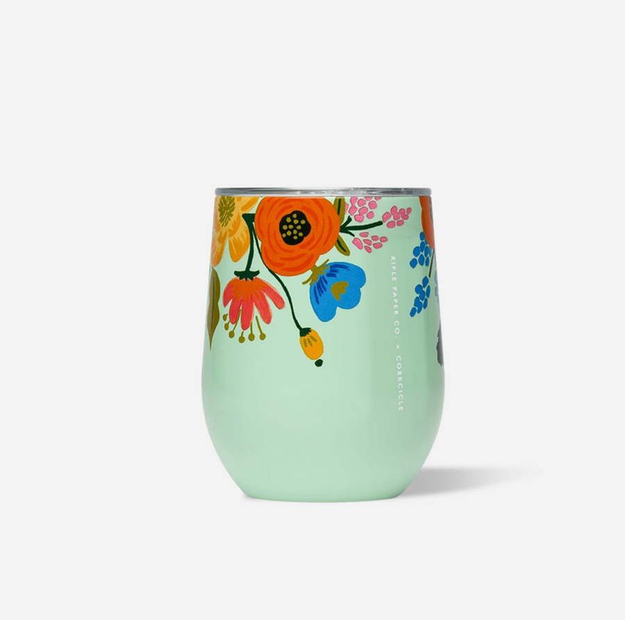 Corkcicle Stemless Wine Glass - Floral
