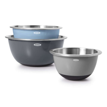 OXO - 3pc. Mixing Bowl Set Stainless Steel Blues