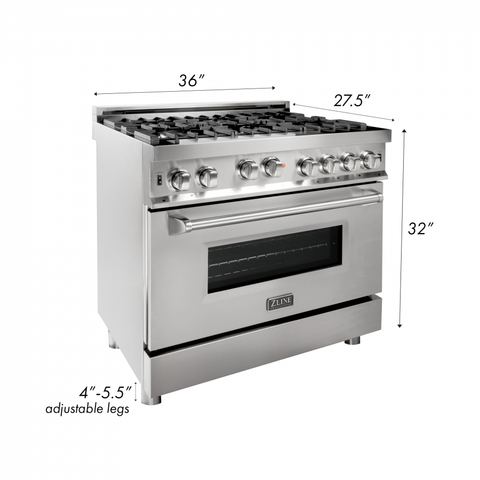 ZLINE 36 in. Professional 4.6 cu. ft. 6 Gas on Gas Range in Stainless Steel