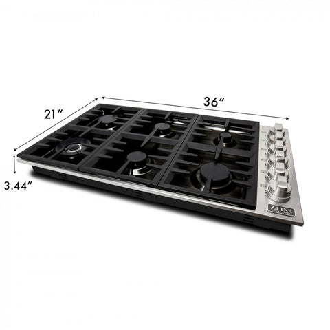 ZLINE 36 in. Dropin Cooktop with 6 Gas Burners and Black Porcelain Top