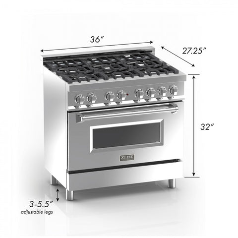 ZLINE 36 in. Professional Dual Fuel Range in Snow Stainless with White Matte Door