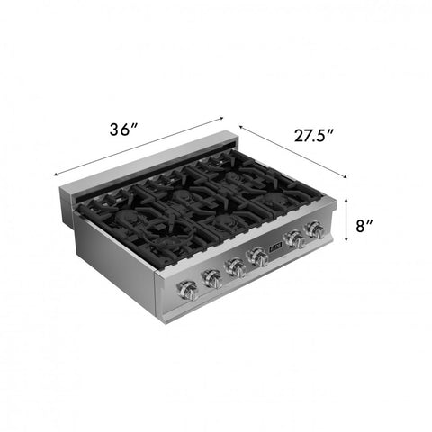 ZLINE 36 in. Rangetop with 6 Gas Burners