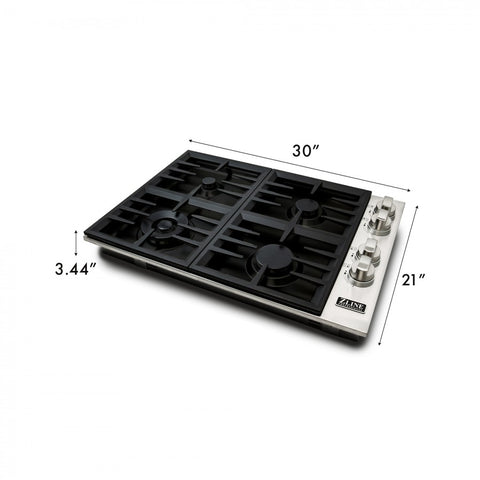 ZLINE 30 in. Dropin Cooktop with 4 Gas Burners and Black Porcelain Top