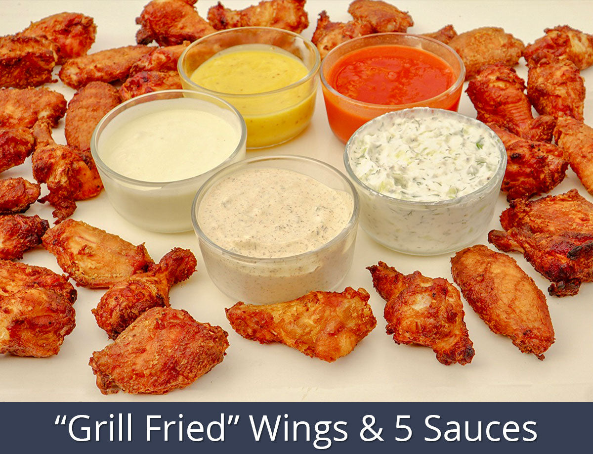 """Grill Fried"" Wings & 5 Sauces Recipe 