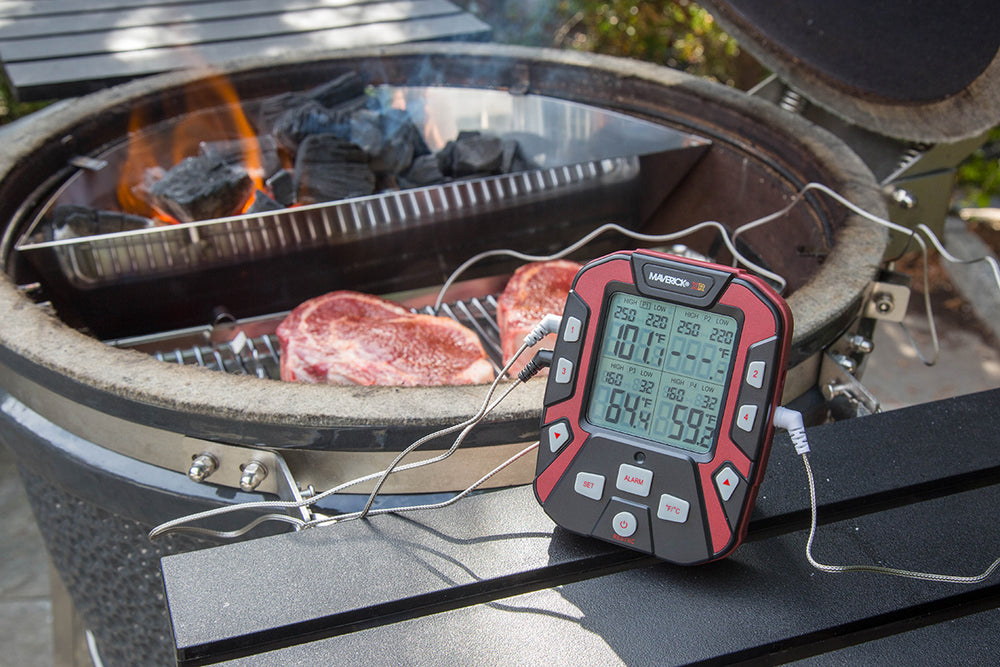 This Slow 'N Sear® Deluxe Silver Bundle pairs two power-house products, the Slow 'N Sear Deluxe and the Maverick XR-50 Thermometer, bringing you ease and confidence to every meal.