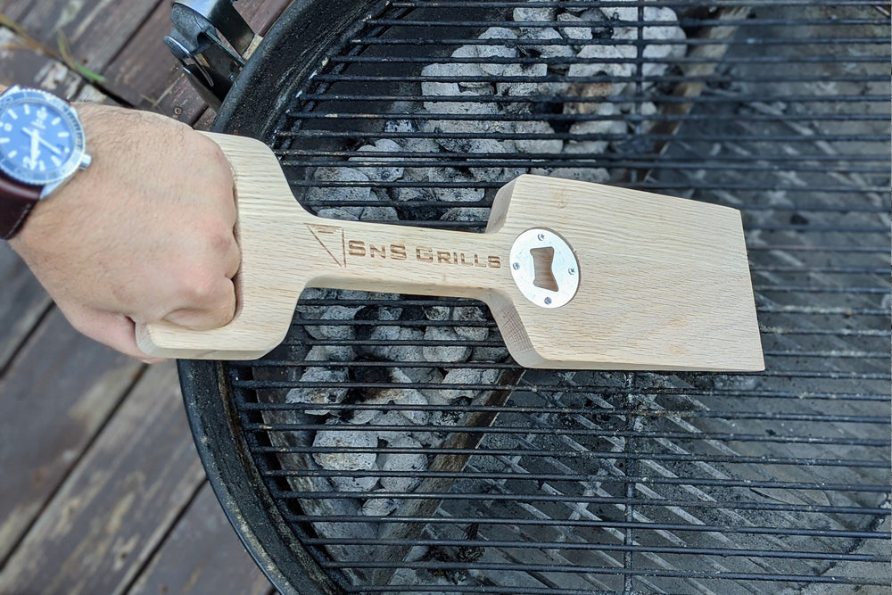 The SnS Grills Scraper is the ideal solution for cleaning your grill grate. After a few uses, this wooden scraper will custom fit to your grates as the heat gradually forms the teeth.