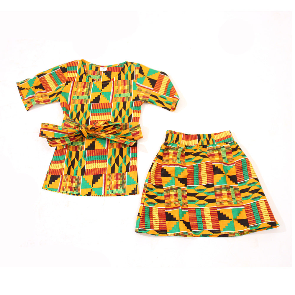 Kids Kente Skirt Set