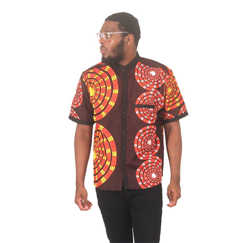 African Print Button-Down Shirt