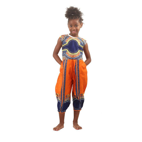 Girl's Dashiki Jumpsuit