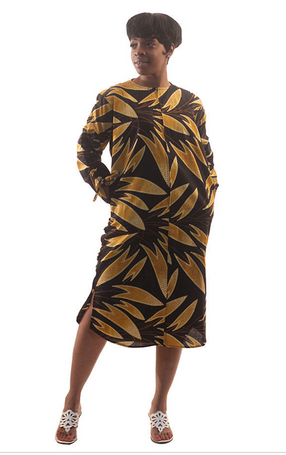 Golden Leaf Zipper Dress