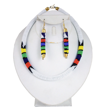 White Beaded Maasai Necklace Set