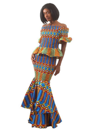 Blue Kente 2-Piece Elastic Skirt Set