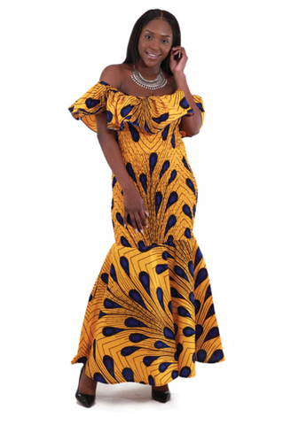 African Peacock Elastic Dress