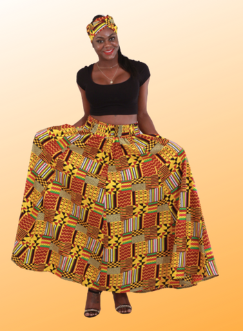 Patchwork Kente Long Skirt