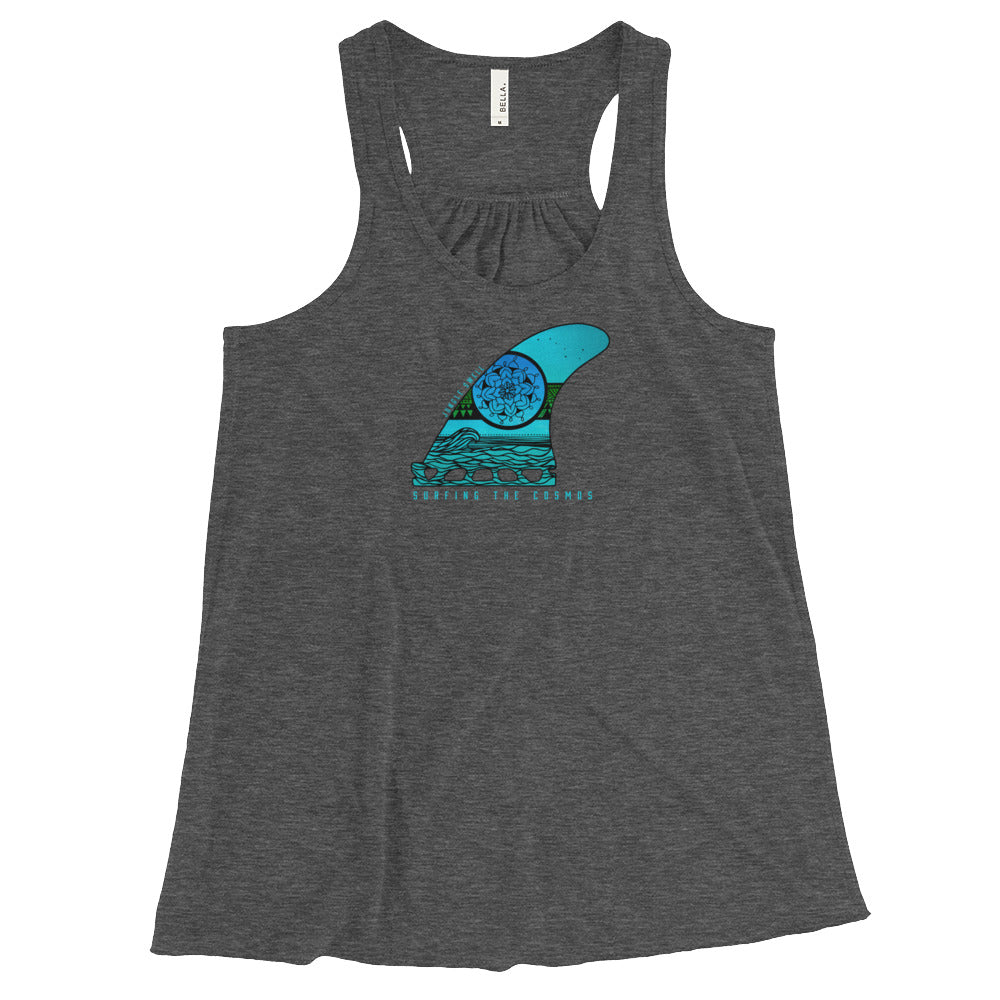 Surfing The Cosmos Surfboard Fin Women's Flowy Tank