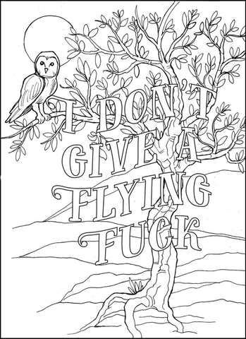 Mental Health Awareness Week Free Colouring In - I don't give a flying fuck