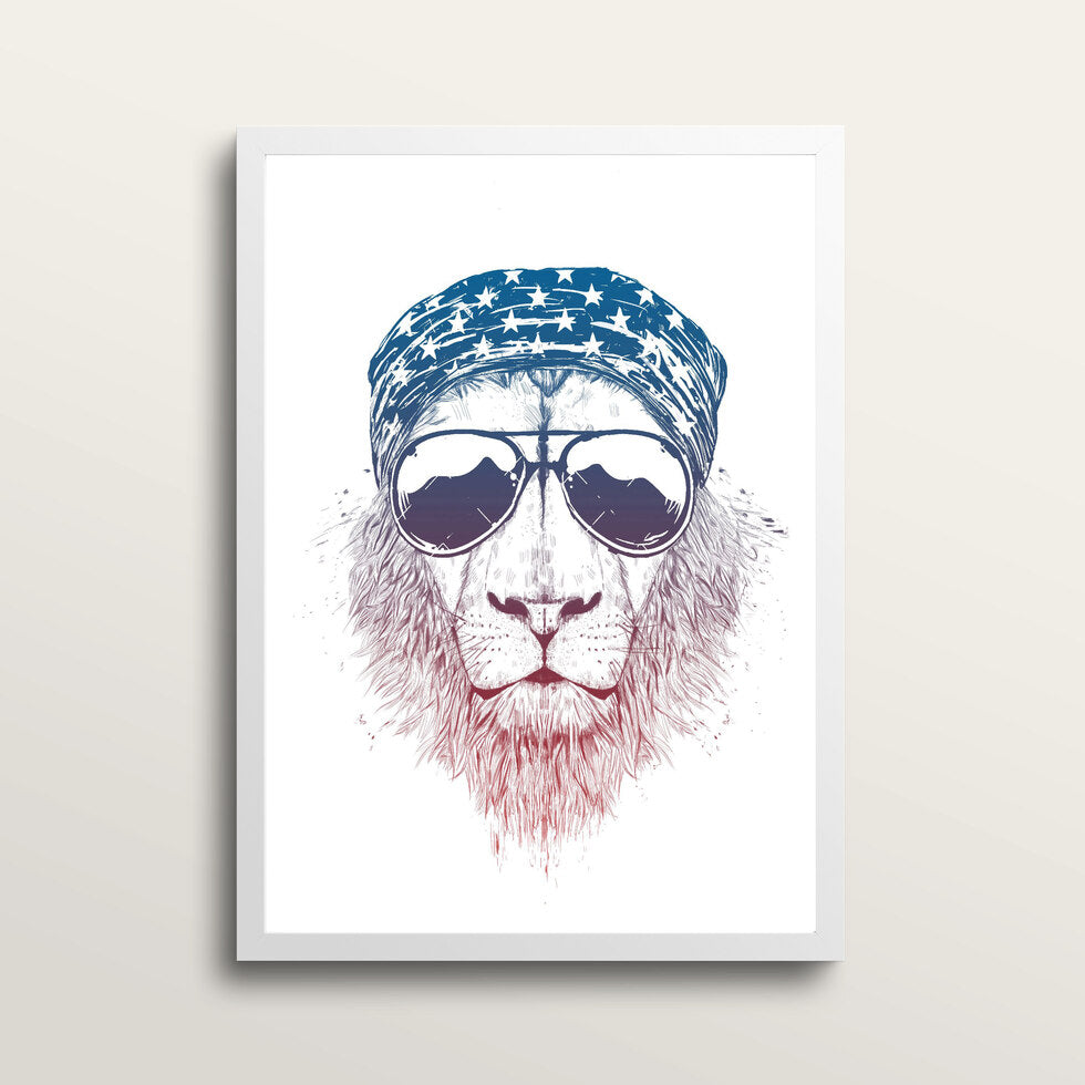 Wild Lion - Art Print - in large A2 white frame