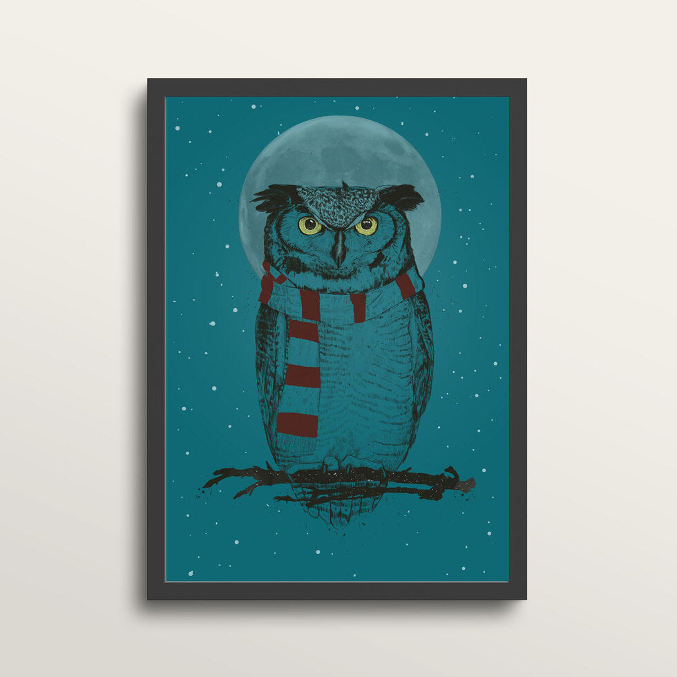 Winter Owl - Art Print - in medium A3 black frame