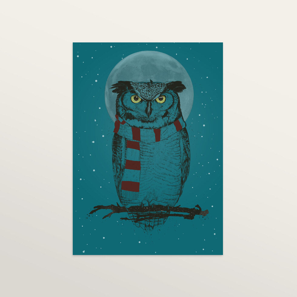 Winter Owl - Art Print - medium A3 print only