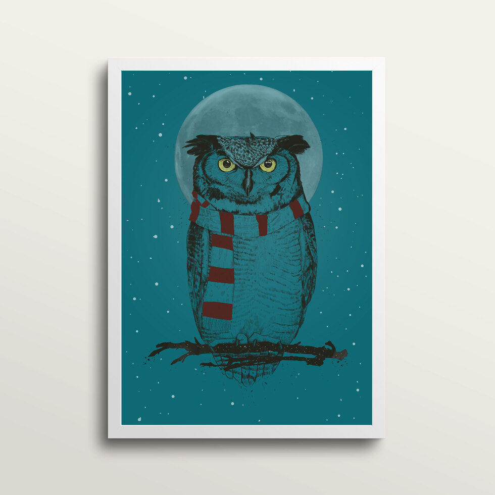 Winter Owl - Art Print - in medium A3 white frame