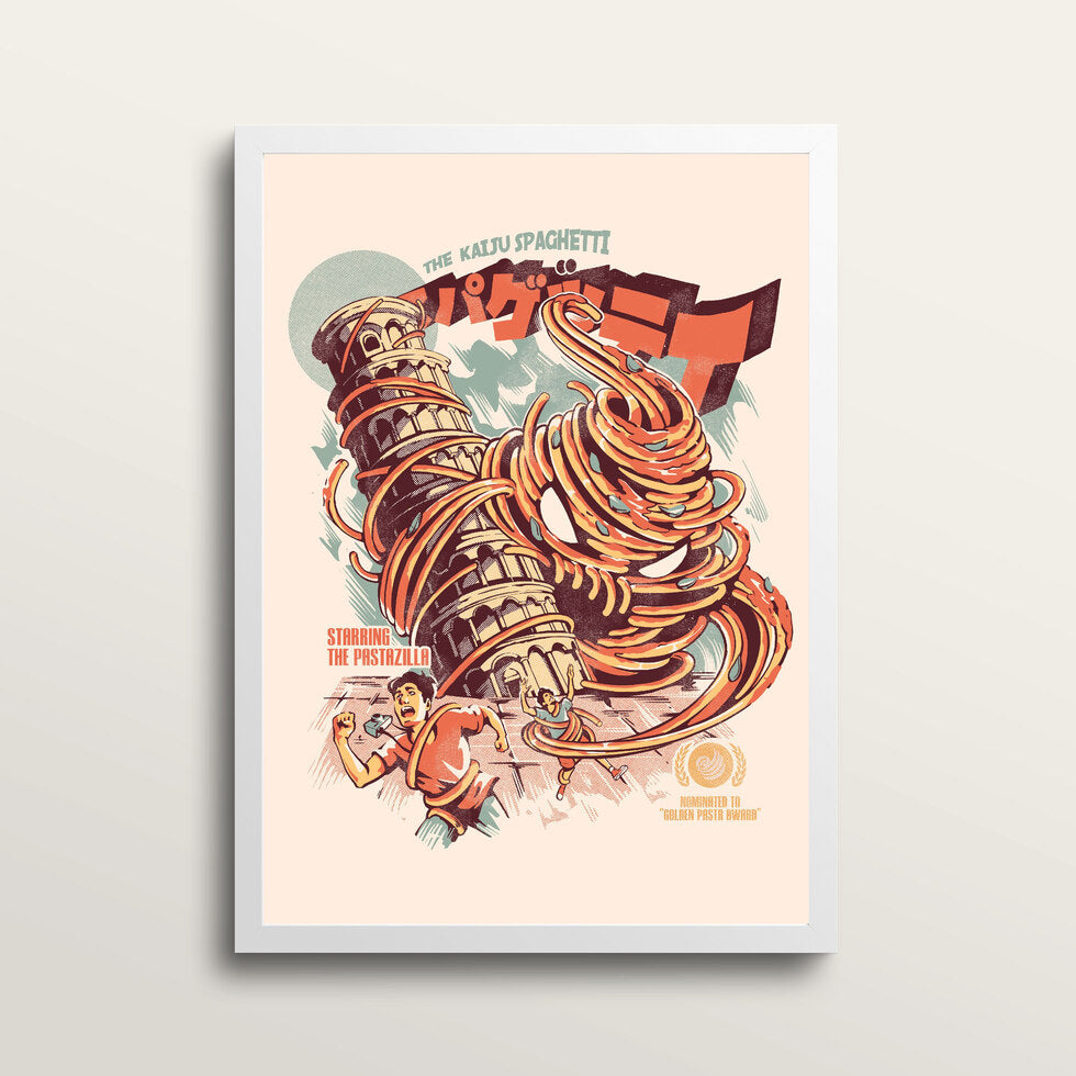 The Kaiju Spaghetti - Art Print - in medium A3 white frame