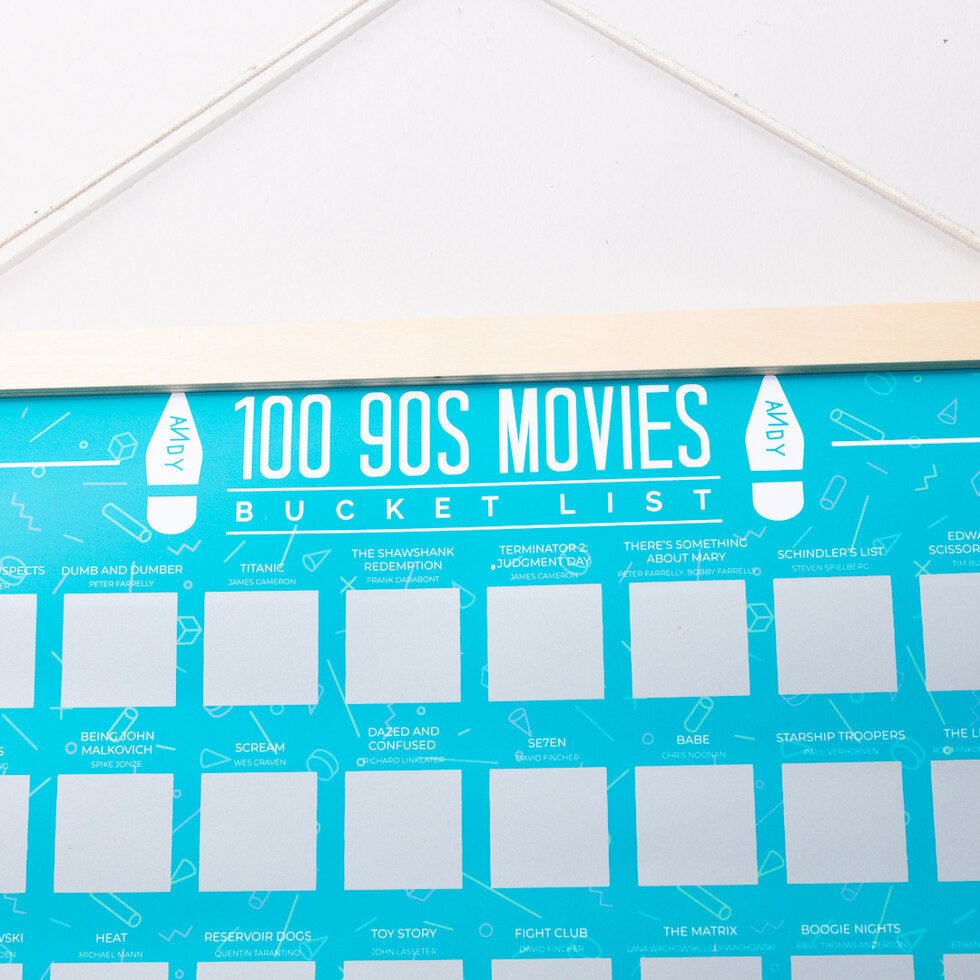 100 90s Movies Scratch Poster