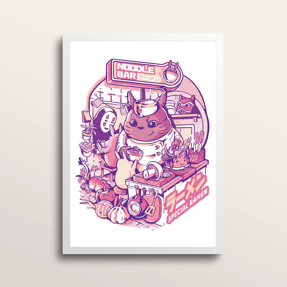 My Neighbor Noodle Bar - Art Print - in large A2 white frame